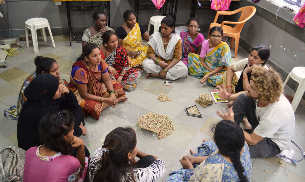 Pepe Heykoop teaching women skills in the slums of Mumbai India
