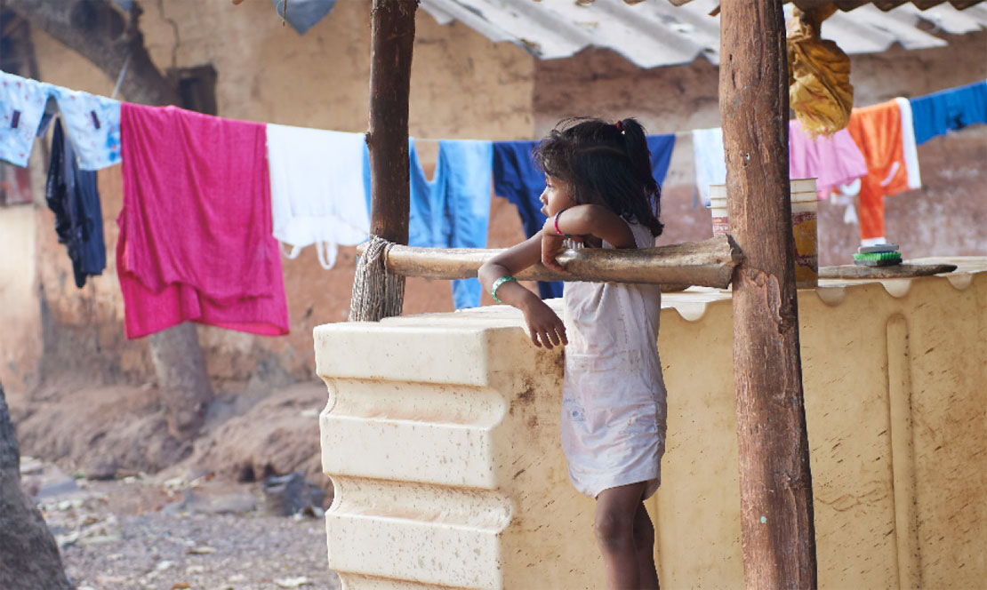 girls with clothes drying