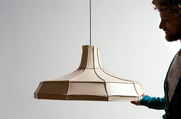 Pepe Heykoop and leather lampshade